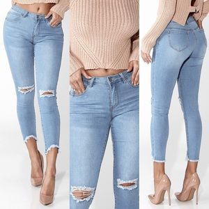 ❥ Boutique Frayed Distressed Jeans